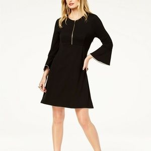 Rachel Zoe Black Dress Bell Sleeve White Trim NWT